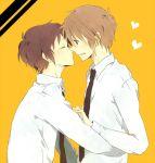 blush brown_eyes brown_hair couple heart hug koizumi_itsuki kyon necktie seifuku short_hair the_melancholy_of_haruhi_suzumiya yaoi