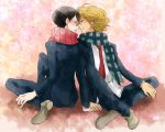 black_hair blonde_hair blush couple doukyuusei glasses hand_holding jewelry kusakabe necktie sajou_rihito scarf seifuku short_hair smile yaoi