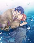 angel_beats! blue_hair couple feather hand_holding hinata hug necktie orange_hair otonashi sad seifuku short_hair water wings yaoi