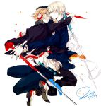 couple glasses grey_eyes grey_hair hanamura_yousuke headphones hug narukami_yuu orange_hair pants persona persona_4 seifuku seta_souji short_hair smile sword weapon yaoi yellow_eyes
