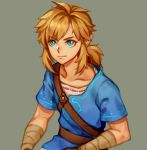1boy bandaged_arm bandaged_wrist bandages bangs belt blonde_hair blue_eyes blue_shirt brown_belt closed_mouth collarbone eyebrows_visible_through_hair grey_background kostop link looking_at_viewer male_focus medium_hair pointy_ears shirt sidelocks simple_background solo the_legend_of_zelda the_legend_of_zelda:_breath_of_the_wild upper_body