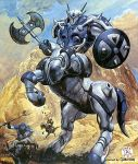 80s animal armor centaur horns kikou-kai_galient mecha official_art promaxis shield takani_yoshiyuki weapon