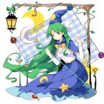 1girl bangs blue_skirt bow breasts candlelight capelet commentary crescent_moon expressionless gem green_hair hat hat_bow highres holding_staff ideolo_(style) lantern long_hair long_sleeves medium_breasts mima moon parody plant shirt skirt solo staff star star_print style_parody sun_print touhou touhou_(pc-98) very_long_hair vines white_background white_shirt witch_hat yorktown_cv-5