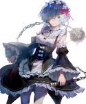 1girl blue_eyes blue_hair breasts cleavage detached_sleeves dress frills hair_ornament hair_over_one_eye hair_ribbon highres kirired looking_at_viewer maid maid_headdress re:zero_kara_hajimeru_isekai_seikatsu red_ribbon rem_(re:zero) ribbon short_hair simple_background solo spike_ball spiked_mace weapon white_background white_legwear x_hair_ornament