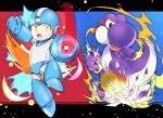 alternate_color android arm_cannon collaboration commentary_request helmet highres kamioka_shun'ya mario_(series) mega_man_(character) mega_man_(classic) mega_man_(series) muuran open_mouth super_mario_world super_smash_bros. tail weapon yellow_eyes yoshi
