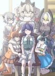 6+girls ^_^ animal_ears arm_support arms_behind_head arms_up bald_eagle_(kemono_friends) bangs bare_arms bare_legs bare_shoulders behind_another belt black_hair blonde_hair blue_eyes blue_hair breast_pocket brown_hair buttons captain_(kemono_friends) cargo_shorts chair closed_eyes closed_mouth commentary_request common_dolphin_(kemono_friends) day dhole_(kemono_friends) dog_ears dog_girl dog_tail dolphin_tail dorsal_fin dress eyebrows_visible_through_hair eyes_visible_through_hair facing_viewer fangs fangs_out feet_out_of_frame fins frilled_dress frills fur_scarf glasses gloves gm_(ggommu) grey_eyes grey_hair hair_between_eyes hands_together head_fins head_wings height_difference highres indoors jacket kemono_friends kemono_friends_3 kneeling leaning_forward leaning_on_object lion_(kemono_friends) lion_ears long_sleeves looking_at_viewer medium_dress medium_hair meerkat_(kemono_friends) meerkat_ears meerkat_tail miniskirt multicolored_hair multiple_girls necktie one_eye_closed open_mouth pantyhose plaid plaid_neckwear plaid_sleeves pocket purple_hair sailor_collar scarf shirt short_hair short_sleeves shorts sidelocks sitting skirt sleeveless sleeveless_dress sleeveless_shirt smile standing sweater swept_bangs tail tail_fin thigh-highs two-tone_hair white_hair window wooden_floor yellow_eyes zettai_ryouiki