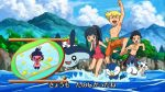ako_(ako0905) beach cliff fake_screenshot hikari_(pokemon) jun_(pokemon) kouki_(pokemon) mantyke mime_jr. mountain pachirisu parody piplup pokemon pokemon_(anime) pokemon_(game) pokemon_dppt shaymin smile swimsuit tree