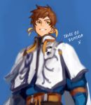 1boy brown_hair copyright_name earrings feather_earrings green_eyes grin jewelry male_focus short_hair smile solo sorey_(tales) tales_of_(series) tales_of_zestiria title upper_body yarr