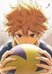 1boy brown_eyes brown_hair haikyuu!! hair_between_eyes hinata_shouyou holding looking_at_viewer piro_(orip) short_hair signature solo spiky_hair upper_body volleyball