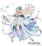 1girl blonde_hair blush breasts collar dress flower granadia_saga hair_flower hair_ornament jewelry long_hair official_art petals rei_(kinokotype) shoes skirt violet_eyes