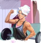 1girl barbell biceps breasts circlet clenched_hand commentary dark_skin diepod facial_mark female fist_pump hyakujuu-ou_golion medium_breasts muscle pointy_ears princess_allura short_hair sidelocks smile tank_top upper_body voltron:_legendary_defender weights white_hair