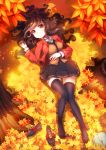 1girl autumn_leaves blazer brown_eyes brown_hair christinya highres jacket leaf loafers long_hair lying on_back original school_uniform shoes shoes_removed skirt smile solo thigh-highs tree tree_stump zettai_ryouiki