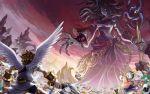 angel_wings highres kid_icarus kid_icarus_uprising medusa_(kid_icarus) pit_(kid_icarus) staff wings