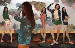 4girls ass black_hair black_shorts copyright_request crop_top crossed_arms floral_background floral_print full_body green_shirt green_shorts highres hoooook jacket lips long_hair midriff multiple_girls pink_shorts realistic shirt shoes short_hair shorts socks standing tank_top tennis_shoes white_shirt white_shorts