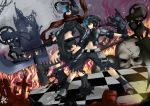black_rock_shooter black_rock_shooter_(character) black_rock_shooter_(cosplay) blue_eyes checkered cosplay fire glowing glowing_eyes highres kagamine_len kagamine_rin midriff parody polearm realmbw realmbw_(artist) ruins scarf scythe shorts skull star vocaloid weapon