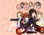 akiyama_mio bad_id bass_guitar blonde_hair blush brown_hair chibi everyone guitar hairband happy hase_neet hirasawa_ui hirasawa_yui instrument k-on! kneeling kotobuki_tsumugi long_hair manabe_nodoka multiple_girls nakano_azusa pantyhose school_uniform shoes short_hair sitting skirt socks tainaka_ritsu uwabaki wink yamanaka_sawako