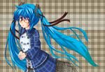 bespectacled blue_eyes blue_hair blush dress glasses gothic_lolita hair_ribbon hatsune_miku lace lolita_fashion long_hair nail_polish nekobaka plaid ribbon twintails very_long_hair vocaloid