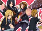 akiyama_mio band bass_guitar black_hair blonde_hair blue_eyes brown_eyes brown_hair drum guitar highres hirasawa_yui instrument k-on! keyboard_(instrument) kotobuki_tsumugi long_hair multiple_girls pantyhose ratte school_uniform seifuku short_hair synthesizer tainaka_ritsu tomboy