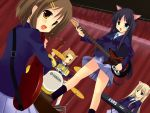 akiyama_mio animal_ears arisu cat_ears drum drum_set dutch_angle guitar hirasawa_yui instrument k-on! kotobuki_tsumugi multiple_girls musical_note school_uniform synthesizer tainaka_ritsu