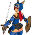 ass daisy_(dq) dragon_quest dragon_quest_yuusha_abel_densetsu gloves helmet red_eyes red_hair redhead shield sword weapon