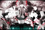 1boy 2girls absurdly_long_hair black_eyes black_hair closed_eyes copyright_name detached_sleeves floating_hair flower frown hair_flower hair_ornament hatsune_miku highres letterboxed long_hair multiple_girls necktie nisoku_hokou_(vocaloid) siho_(ricchil) skirt thigh-highs twintails very_long_hair vocaloid