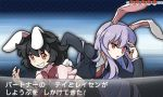 2girls akebi_(pokemon) animal_ears black_hair blazer bow carrot_necklace fake_screenshot grin hacko inaba_tewi jacket multiple_girls necktie parody pokemon pokemon_(game) pokemon_xy purple_hair rabbit_ears red_eyes reisen_udongein_inaba smile style_parody touhou translation_request uneven_eyes youngster_(pokemon)