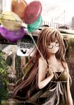 1girl absurdres ahoge balloon bangs black_dress blush breasts bridge brown-framed_eyewear brown_eyes brown_hair cleavage closed_mouth commentary day deviantart_logo deviantart_username dress english_commentary glasses highres kirimatsu long_hair looking_at_viewer medium_breasts original outdoors overcast railing smile solo sunlight very_long_hair watermark web_address