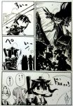 4girls :d ahoge braid cannon comic dodging fingerless_gloves firing gloves gouta_(nagishiro6624) greyscale hair_flaps hair_ribbon kamikaze_(kantai_collection) kantai_collection long_hair machinery monochrome multiple_girls necktie open_mouth remodel_(kantai_collection) ribbon ru-class_battleship scan school_uniform serafuku shigure_(kantai_collection) shinkaisei-kan shiranui_(kantai_collection) shoes single_braid smile torpedo translation_request