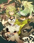 1girl bare_shoulders beak bird breasts collar duel_monster gloves green_eyes green_hair gusto_gulldo hair_ornament highres jacket jewelry long_hair looking_at_viewer matching_hair/eyes misaka_(missa) one_eye_closed open_mouth pendant ponytail shorts smile solo staff winda_priestess_of_gusto yu-gi-oh!