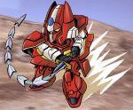 80s artist_request chibi galient kikou-kai_galient mecha sword weapon