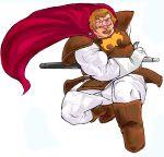 1boy 80s armor boots brown_hair cape don_slazen gloves kikou-kai_galient male_focus scabbard sheath solo sword weapon