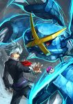 10s 1boy absurdres formal grey_eyes highres jewelry master_ball mega_metagross mega_pokemon metagross poke_ball pokemon pokemon_(game) pokemon_oras ring sa-dui silver_hair tsuwabuki_daigo