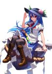 1girl bangs black_legwear blue_hair blue_skirt boots breasts brown_boots cross-laced_footwear fkey food frilled_skirt frills fruit hair_between_eyes hand_up highres hinanawi_tenshi keystone knee_boots lace-up_boots light long_hair looking_at_viewer peach puffy_short_sleeves puffy_sleeves red_eyes rope shimenawa shirt short_sleeves simple_background skirt small_breasts smile solo thigh-highs thighs touhou white_background white_shirt wind zettai_ryouiki
