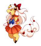 ampharos bishoujo_senshi_sailor_moon bow closed_eyes cosplay hair_bow open_mouth pink_(4chan) pokemon pokemon_(creature) red_skirt sailor_venus sailor_venus_(cosplay) skirt solo standing