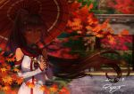 1girl 2016 bangs bare_shoulders breasts brown_eyes brown_hair cherry_blossoms closed_mouth dated detached_sleeves eyebrows eyebrows_visible_through_hair fence floating_hair flower gate gorget hair_flower hair_ornament hedge_(plant) holding holding_umbrella kantai_collection large_breasts leaf light_rays long_hair looking_at_viewer maple_leaf oriental_umbrella outdoors pajant ponytail red shade signature solo umbrella upper_body very_long_hair wooden_fence yamato_(kantai_collection)