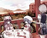 3girls blue_hair book commentary crescent dyolf food fork hat izayoi_sakuya misty_lake mob_cap mountain multiple_girls open_mouth patchouli_knowledge plate purple_hair red_eyes remilia_scarlet scarlet_devil_mansion silver_hair touhou