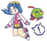 ! 1girl :o bag bird black_shoes blue_eyes blue_hair bright_pupils cropped_jacket crystal_(pokemon) handbag hat jacket jewelry kancho_(artist) long_hair long_sleeves natu necklace open_clothes open_jacket open_mouth pokemon pokemon_(creature) pokemon_(game) pokemon_gsc red_shirt shirt shoes shorts simple_background sleeves_past_wrists socks speech_bubble spoken_exclamation_mark turtleneck twintails white_background white_jacket yellow_hat