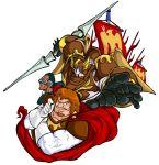 80s banner brown_hair cape don_slazen facial_hair flag kikou-kai_galient mecha skurts weapon