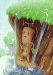 against_wall artist_name grass no_humans open_mouth pokemon pokemon_(game) rain sudowoodo sweatdrop water zeitwolf