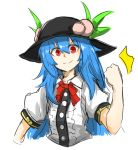 >:) 1girl black_hat blue_hair bow bowtie clenched_hand dress_shirt food fruit hat hinanawi_tenshi kan_(aaaaari35) leaf long_hair looking_at_viewer peach puffy_short_sleeves puffy_sleeves red_bow red_bowtie red_eyes shirt short_sleeves sketch solo touhou upper_body white_background white_shirt