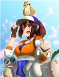 1girl :d baseball_cap beak bird black_eyes blue_sky bodysuit breasts brown_eyes brown_gloves brown_hair choker collarbone cosplay covered_navel creature_on_head cropped_jacket day farfetch'd female_protagonist_(pokemon_go) female_protagonist_(pokemon_go)_(cosplay) fingerless_gloves glasses gloves hair_ribbon hat highres ise_(kantai_collection) jacket kantai_collection long_sleeves medium_breasts open_mouth orange_(sal1014) orange_jacket petals pidgey pokemon pokemon_(anime) pokemon_go red_ribbon ribbon round_teeth skin_tight sky sleeves_past_elbows smile spring_onion squirtle sunglasses teeth upper_body zipper