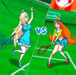 2girls blonde_hair crossover crown dress mario_tennis mario_tennis:_ultra_smash mona_(warioware) multiple_girls nintendo orange_hair rosetta_(mario) skirt super_mario_bros. super_mario_galaxy tennis warioware