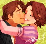1boy 1girl brown_hair cheek_kiss closed_eyes disney dress facial_hair floral_background flynn_rider goatee hetero jacket kiss lipstick makeup ponsu_(ponzuxponzu) purple_dress rapunzel_(disney) red_lipstick short_hair signature smile tangled