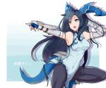 1girl ankle_boots black_hair black_legwear blue_eyes boots breasts china_dress chinese_clothes dragon_girl dragon_horns dragon_tail dress fighting_stance gauntlets head_fins highres horns karin_(p&d) long_hair open_mouth pantyhose puzzle_&_dragons smile solo tail zhi_zhi/zu_zu