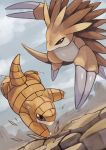 black_eyes broken_ground brown_eyes claws highres no_humans pokemon pokemon_(creature) sandshrew sandslash sky spikes tail tesshii_(riza4828)
