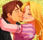 1boy 1girl blonde_hair brown_hair cheek_kiss closed_eyes disney dress facial_hair floral_background flynn_rider goatee hetero jacket kiss lipstick long_hair makeup ponsu_(ponzuxponzu) purple_dress rapunzel_(disney) red_lipstick signature smile tangled