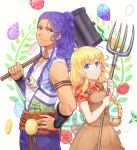 1boy 1girl arm_guards armlet bangs blonde_hair blue_eyes blush bokujou_monogatari:_3-tsu_no_sato_no_taisetsu_na_tomodachi braid breasts carrot carrying_over_shoulder closed_mouth coin collared_shirt cowboy_shot dress_shirt egg eyebrows eyebrows_visible_through_hair flower gem gradient half_updo hammer hand_on_hip height_difference hibiscus holding jewelry long_hair looking_at_viewer multiple_braids necklace overalls patterned_background pendant pitchfork plaid plaid_shirt pocket polka_dot polka_dot_background purple_hair red_eyes red_flower rudhusu sash shirt short_sleeves side_braid sleeveless sleeves_pushed_up small_breasts smile sumimoto_ryuu tan tomato turnip twin_braids twintails v-neck wavy_hair white_background