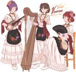3girls apron bracelet brown_eyes brown_hair chair closed_eyes collarbone commentary dress earrings fan flower folding_fan hair_flower hair_ornament hair_up hairband harp highres horikawa_raiko instrument jewelry leona_(instrument) mefomefo mexican_dress mexico multiple_girls music necklace playing_instrument purple_hair redhead shoes short_hair simple_background sitting standing tambourine touhou tsukumo_benben tsukumo_yatsuhashi white_background white_dress white_shoes