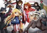 6+girls annotated ant-man ant-man_(cosplay) arrow black_hair black_panther_(marvel) black_panther_(marvel)_(cosplay) black_widow black_widow_(cosplay) blonde_hair blue_eyes bow_(weapon) breasts brown_eyes brown_hair cape captain_america captain_america_(cosplay) captain_america_civil_war clenched_hands dark_skin embers facial_mark fingerless_gloves fubuki_(kantai_collection) gloves goggles gun hair_ribbon haruna_(kantai_collection) hawkeye_(marvel) hawkeye_(marvel)_(cosplay) headgear hibiki_(kantai_collection) hiei_(kantai_collection) hiyou_(kantai_collection) houshou_(kantai_collection) impossible_bodysuit impossible_clothes iowa_(kantai_collection) iron_man iron_man_(cosplay) kantai_collection kongou_(kantai_collection) large_breasts marvel mechanical_arm multiple_girls musashi_(kantai_collection) open_mouth parody ponytail pouch power_armor quiver red_eyes red_skin ribbon ryuujou_(kantai_collection) setia_pradipta shield silver_hair star star-shaped_pupils superhero symbol-shaped_pupils the_falcon the_falcon_(cosplay) twintails violet_eyes vision_(marvel) vision_(marvel)_(cosplay) war_machine war_machine_(cosplay) weapon wings winter_soldier winter_soldier_(cosplay)