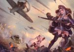 2girls aircraft airplane artist_name barbed_wire battle belt black_boots black_gloves black_legwear blood blurry bolt_action boots braid breasts bucked buckle building cleavage coat cross crying crying_with_eyes_open depth_of_field dust_cloud flying fur_trim girls_frontline gloves grey_sky ground_vehicle gun hat highres holding holding_gun holding_weapon injury jay_xu kar98k_(girls_frontline) layered_skirt long_hair long_sleeves medium_breasts mg42_(girls_frontline) military military_hat military_vehicle motor_vehicle multiple_girls one_eye_closed open_mouth outdoors outstretched_arms peaked_cap propeller reaching_out red_eyes red_star rifle rubble silver_hair sitting skirt sky smoke soviet standing star tank tears teeth thigh-highs thigh_boots tongue torn_clothes torn_thighhighs twintails vehicle_request violet_eyes weapon weapon_request white_skirt wince zettai_ryouiki